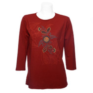 Sabaku Tee in Clay with 3/4 Sleeves and Muted Floral and Tonal Etched Design