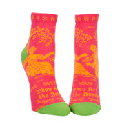 Blue Q Thou Art the Bomb Ankle Socks (Ladies 5-10) in Hot Pink, Yellow and Bright Green