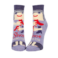 Blue Q Shoe Monster Ankle Socks (Ladies 5-10) in Blues & Red