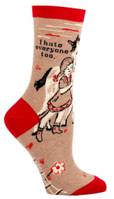 Blue Q I Hate Everyone Too Crew Socks (Ladies 5-10) in Khaki, Red & Black