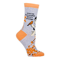 Blue Q You're Beautiful Crew Socks (Ladies 5-10) in Grey, Gold & Black