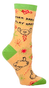 Blue Q Work Hard, Play Hard Crew Socks (Ladies 5-10) in Yellow & Green