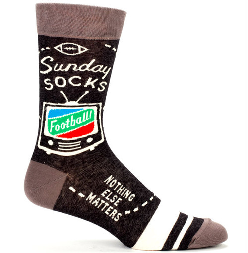Blue Q Sunday Crew Socks (Mens 7-12) in Brown with TV/Football Design