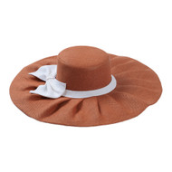 "Texas Longhorn 19"" Burnt Orange Straw Hat with White Band & Bow"