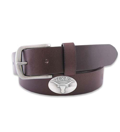 """Leather Belt in Brown or Black with No Tip End and a Metal Conch """"Texas"""" and Longhorn Logo"""