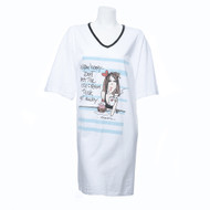 "Over Size, White, Short Sleeve, V-Neck Nightshirt in a Bag with ""Listen honey - Don't let the ice cream truck get away"" and Multi-Color Cartoon Girl Print"