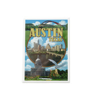 "2 1/2"" X 3 1/2"" Magnet with a Collage of Austin Icons and Austin Skyline"