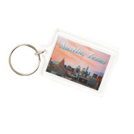 """1 3/4"""" X 2 1/4"""" Acrylic Key Ring with Austin Cityscape at Sunset by Local Photographer Dennis Nauert"""