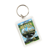 "1 3/4"" X 2 1/4"" Acrylic Key ring with a Collage of Austin Icons and Austin Skyline"