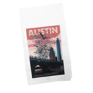 White Kitchen Towel with Congress Avenue Bridge at Sunset with the Bats Flying