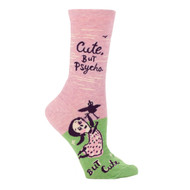 Blue Q Cute but Psycho Crew Socks