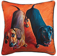 MWW Double Dachsies Pillow SLDDDH