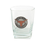"Pewter Medallion Longhorn ""On the Rocks"" Square Glass"