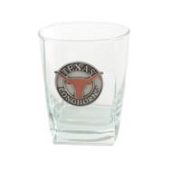 "Pewter Medallion Longhorn ""On the Rocks"" Square Glass"