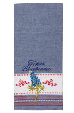 Texas Bluebonnet Embroidered Tea Towel (R3770)