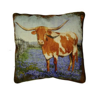 Texas Longhorn Bluebonnet Pillow (SLLSBB)