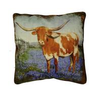 Texas Longhorn Bluebonnet Pillow SLLSBB