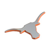 Texas Longhorn Vehicle Medallion Silver with Burnt Orange Edge