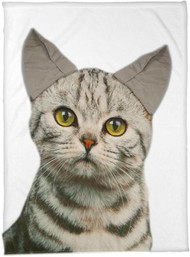 Cat Print Fleece Throw with 3D Ears (AIPTCT)