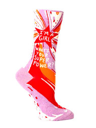 Blue Q I'm a Girl, What's Your Super Power? Socks (SW490)