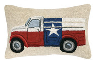 Texas Flag Truck Crewel Pillow