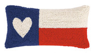 Texas Flag Heart Crewel Pillow