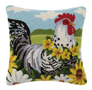 Chicken with Flowers Crewel Pillow