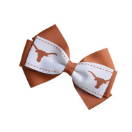 Texas Longhorn 2 Tone Hair Bow Clip (HA-339)