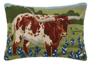 Longhorn in Bluebonnet Field Crewel Pillow   30SJM8318C22OB
