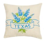 Texas Bluebonnet Embroidered Pillow  (24JES335C12SQ)