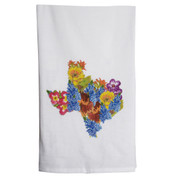 Texas Shaped Wildflower Design Towel (TTTEXASSHAPE FLOWERT)