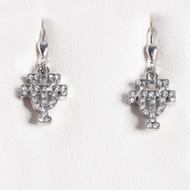 Texas Longhorn Rhodium Crystal UT Drop Earrings (S33537)