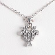Texas Longhorn Rhodium Crystal UT Pendant (S45704)