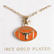 Texas Longhorn Gold Plated Football Pendant (S45693)