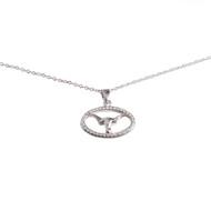 Texas Longhorn Rhodium Crystal Oval Pendant (S45703))