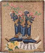 Texas Bluebonnets in Boots Throw (C-ATTXBB)