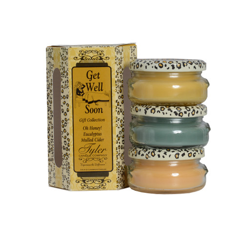 Get Well Gift Set Includes  3-3.4 oz Candles in Eucalyptus, Mulled Cider and Oh Honey  All in a Decorative Gift Box