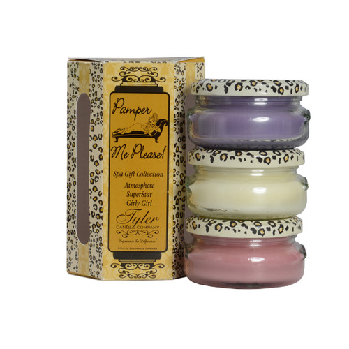 Pamper Me Please Gift Set Includes  3-3.4 oz Candles in Atmosphere, Girly Girl and Superstar All in a Decorative Gift Box