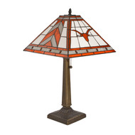 Texas Longhorn Stained Glass Mission Style Table Lamp (COL-TEX-290)