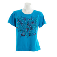 Sabaku Short Sleeve Bouquet of Hummingbirds Tee(328SSBT)