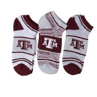 Texas A&M No Show Socks (3 Pack) (889536367555/8347)