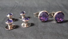 Royal Purple and Silver Stud and Cufflink Set $6