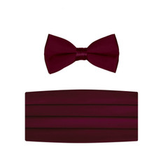New Burgundy Bow Tie and Cummerbund Set