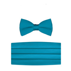 New Caribbean Blue Bow Tie and Cummerbund Set