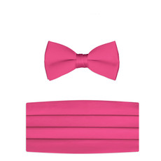 New Hot Pink Bow Tie and Cummerbund Set