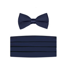 New Navy Blue Bow Tie and Cummerbund Set