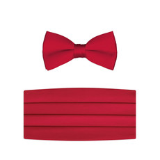 New Red Satin Bow Tie and Cummerbund Set