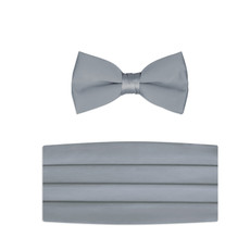 New Silver Bow Tie and Cummerbund Set