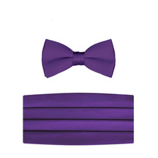 New Plum Purple Bow Tie and Cummerbund Set