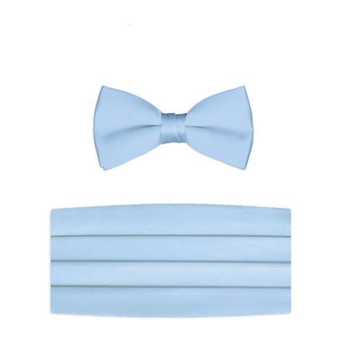New Light Blue Bow Tie and Cummerbund Set